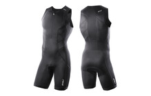 2XU Comp Trisuit Triathlon Kleding Heren Frontzip zwart
